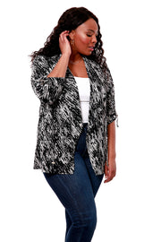 Black and White Print Front Drap Open Cardigan - PLUS SIZE