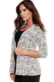 48 Hour Deal | Women's Knit Jaquard 3/4 Sleeve Blazer