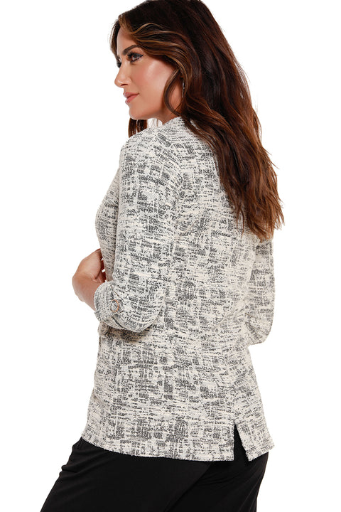 Women's Knit Jaquard 3/4 Sleeve Blazer | LAST CALL