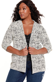 48 Hour Deal | Women's Knit Jaquard 3/4 Sleeve Blazer - Curvy