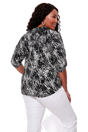 Black and White Print Front Pocket Top - PLUS SIZE