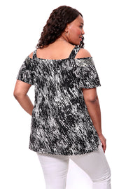Black and White Print Cold Shoulder Tunic - PLUS SIZE