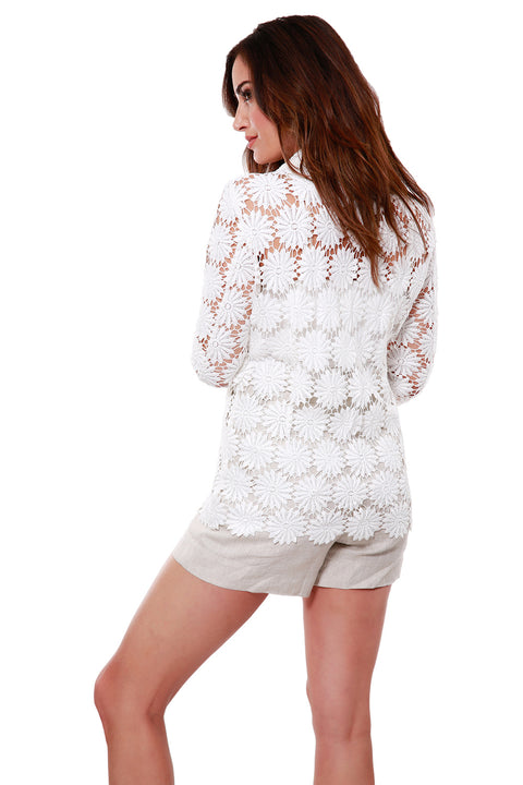 Long Sleeve Floral Crochet Lace Jacket With Pockets