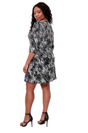 Black and White Print 3/4 Sleeve Dress - PLUS SIZE