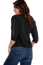Women's 3/4 Dolman Sleeve V-Neck Satin Trim Top