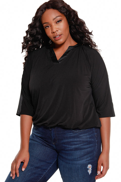 Women's 3/4 Dolman Sleeve V-Neck Satin Trim Top - Curvy | LAST CALL