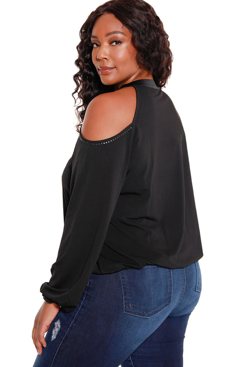 Women's Long Sleeve Cold Shoulder Top - Curvy