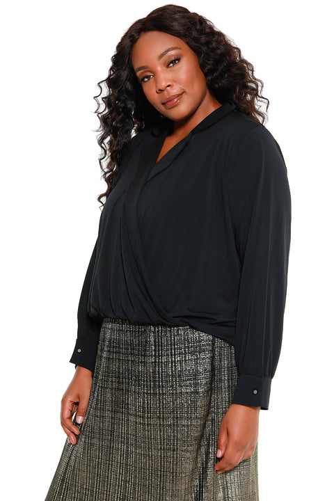 Women's Long Sleeve Wrap Blouse - Curvy