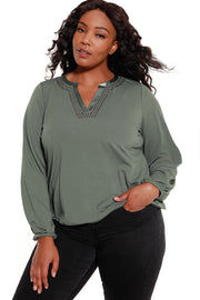 Women's V-Neck Embellished Blouse - Curvy Girls