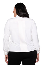 Women's Button Down Blouse with Front Tie Bow - Curvy