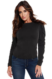 Women's Gathered Long Sleeve Crew Neck Top