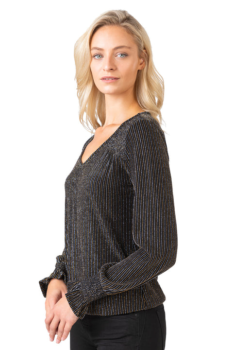 Women's Long Sleeve V-Neck Metallic Striped Top