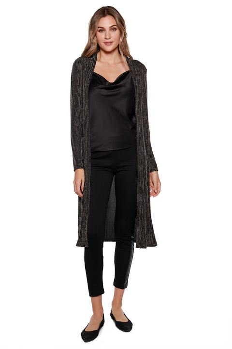 Women's Long Black Metallic Stripe Open Cardigan