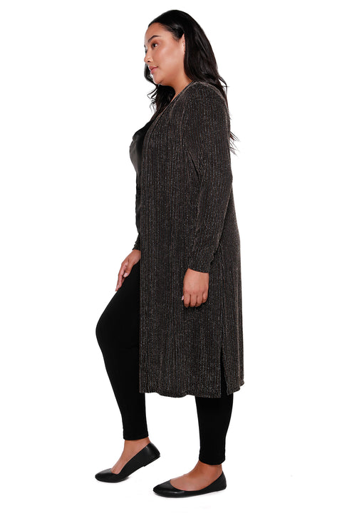 Women's Long Black Metallic Stripe Open Cardigan - Curvy