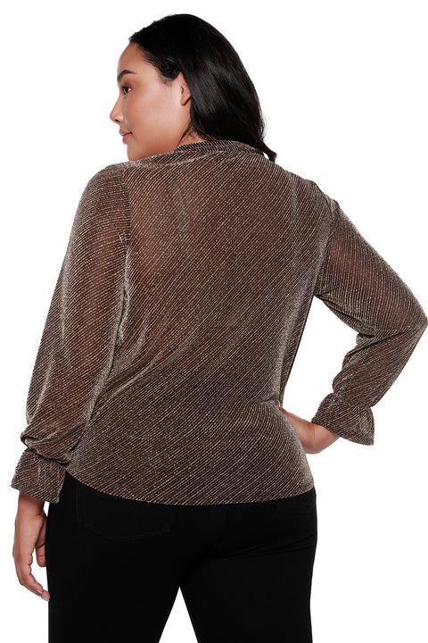 Women's Metallic V-Neck Wrap Top with Cuff Sleeves - Curvy