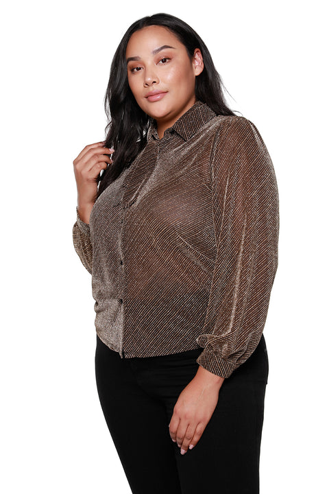 Women's Tie Neck Button Front Long Sleeve Blouse - Curvy