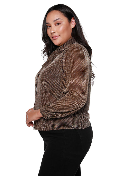 Women's Tie Neck Button Front Long Sleeve Blouse - Curvy | LAST CALL