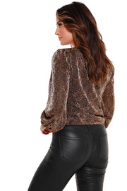 Women's Snake Print Wrap Front Top with  Blouson Sleeves
