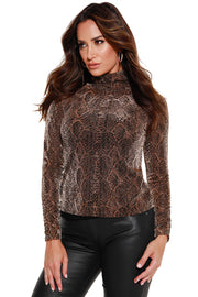 Women's Metallic Snake Mock Neck Top