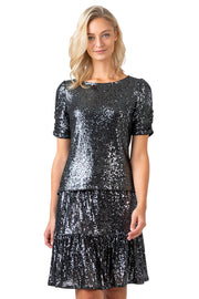 Women's Sequin Ruffle Hem Knee High Skirt