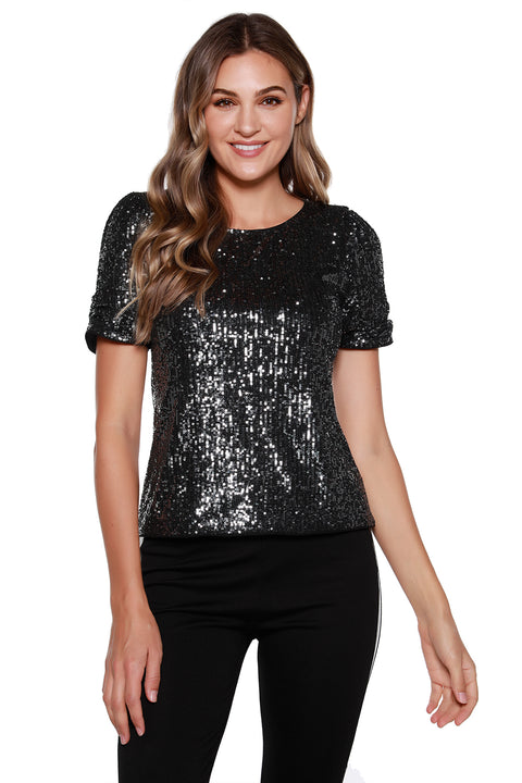 Women's Puff Sleeve Sequin Knit Top
