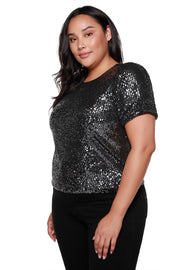 Women's Puff Sleeve Sequin Knit Top - Curvy