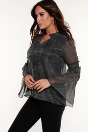 48 Hour Deal | Women's Metallic Crinkle Knit Blouse with Pleated Bell Sleeves