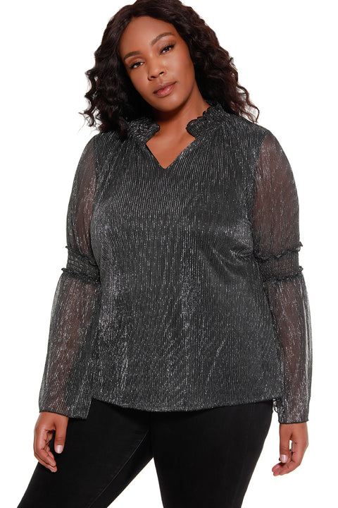 48 Hour Deal | Women's Metallic Crinkle Blouse with Pleated Bell Sleeves - Curvy