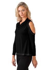 Women's Metallic Studded Cowl Neck Cold Shoulder Top