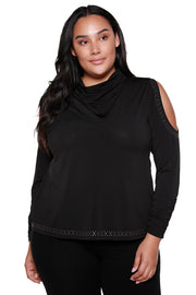 Metallic Studded Cowl Neck Cold Shoulder Top - Curvy