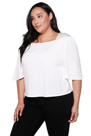 Women's 3/4 Sleeve Knit Top with Satin Embroidered Shoulder Detail | Curvy