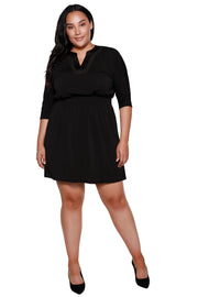 Women's 3/4 Sleeve V-Neck Stud Embellished Little Black Dress - Curvy