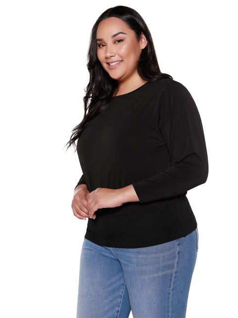 Women's Long Sleeve Boatneck Banded Waist Top | Curvy