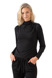 Women's Mock Neck Top with Ruched Button Shoulder