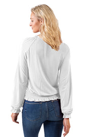 Women's Long Sleeve Smocked Knit Top with Ruffle Details