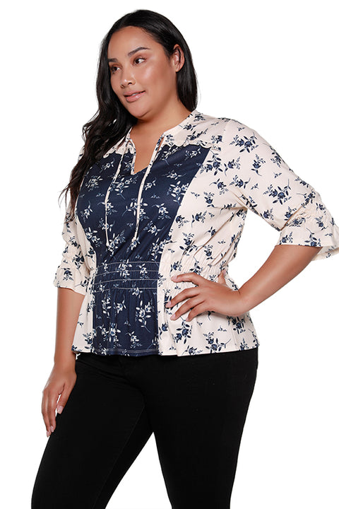 Women's 3/4 Sleeve  V-neck Cinched Waist Ruffle Top | Curvy