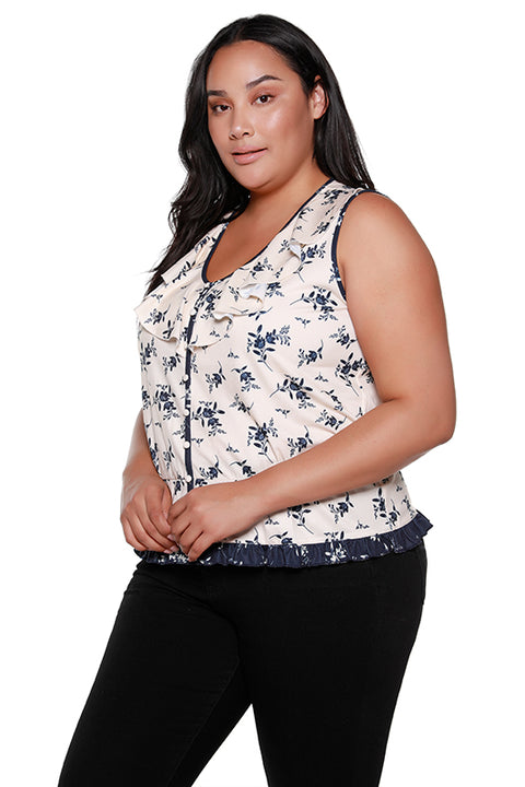 Women's Sleeveless V-neck Ruffle Top | Curvy