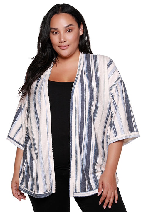 Women's Wide Sleeve Striped Swiss Dot Kimono | Curvy