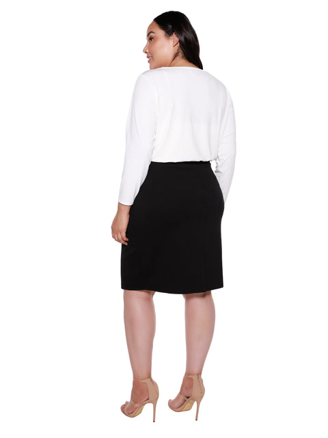 Women's Classic Ponte Skirt with Patch Pockets and Grommet Detail |Curvy