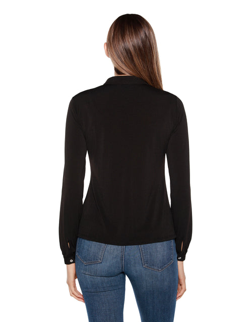 Women's Long Sleeve Hidden Button Front Blouse