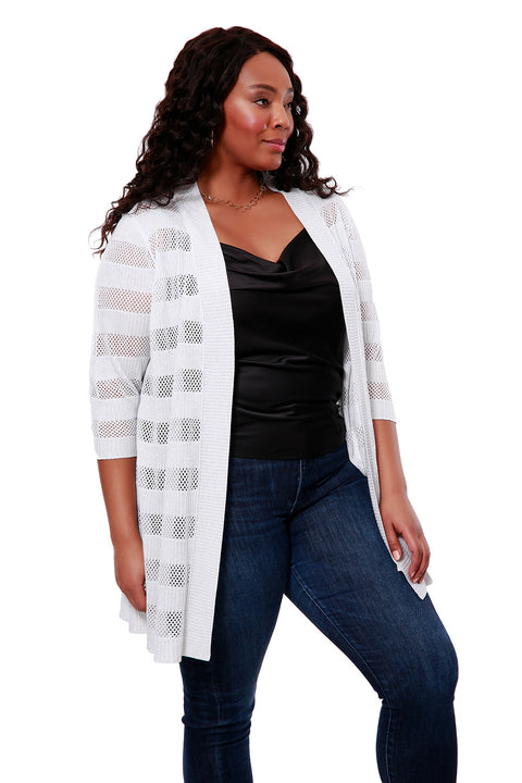 3/4 Stripe Duster Open-Front Cardigan - Plus Size