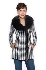 Houndstooth Zip Jacket with Detachable Faux Fur Collar