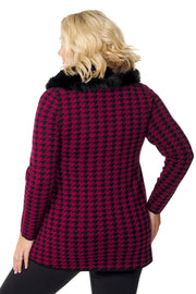 Houndstooth Zip Jacket with Detachable Faux Fur Collar - PLUS SIZE