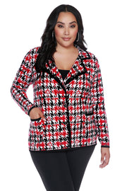 Plaid-Houndstooth Notch-Collar Button Cardigan - PLUS SIZE
