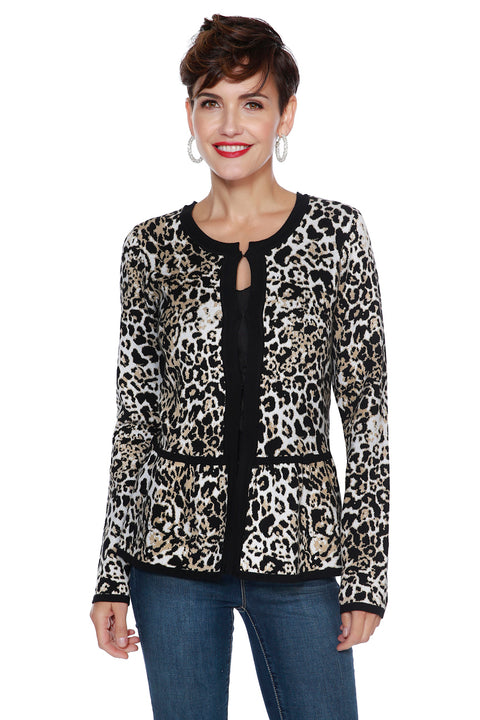 Animal Print Peplum Cardigan