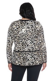 Animal Print Peplum Cardigan - PLUS SIZE