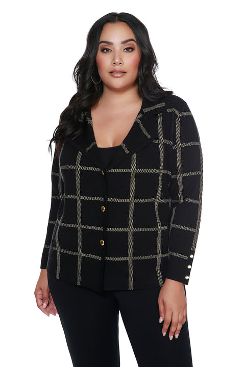 Metallic Plaid Notch-Collar Button Cardigan - PLUS SIZE