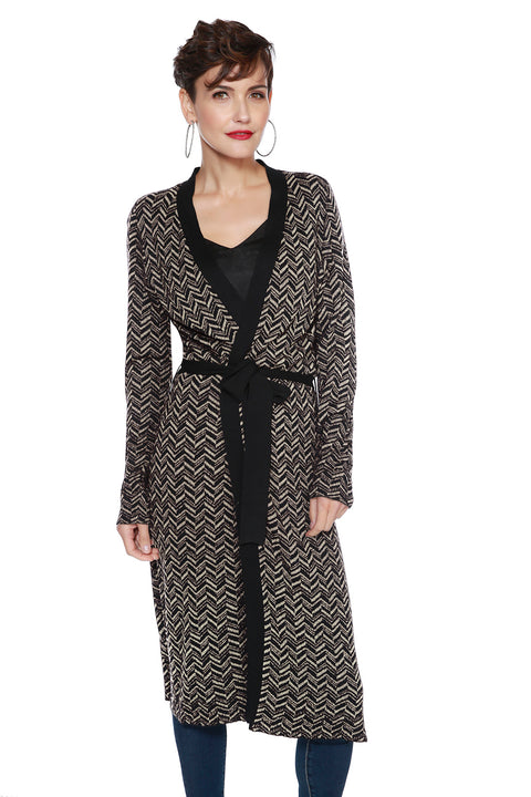 Metallic Chevron Long Duster with Belt