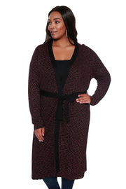 Metallic Chevron Long Duster with Belt - PLUS SIZE
