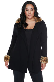 Women's Cardigan with Detachable Leopard Faux Fur Collar & Cuffs - PLUS SIZE